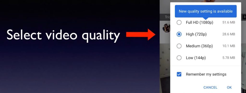 select video quality